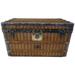1870s Louis Vuitton Stripped Trunk with Key