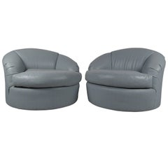 Pair of Modern Swivel Club Chairs