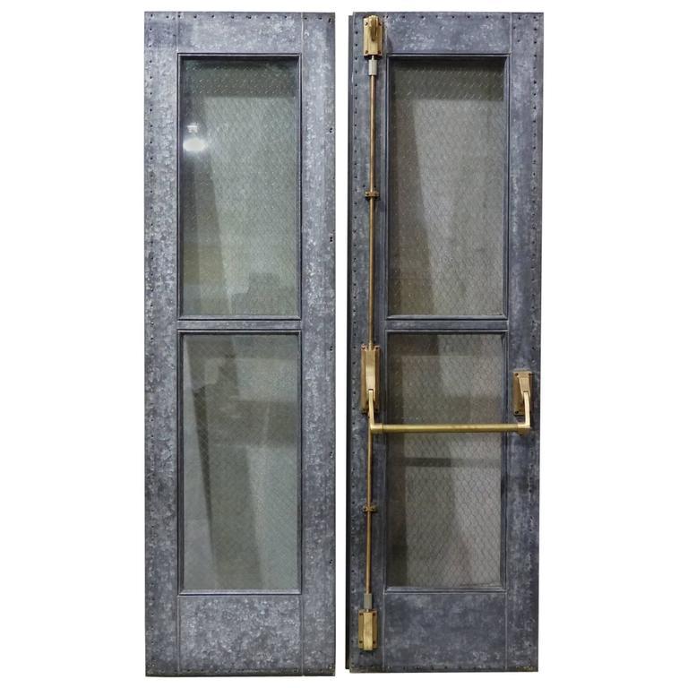 Steel Chicken Wire Glass Doors For Sale