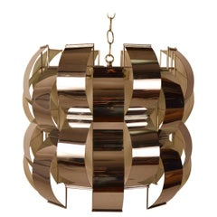 Modernist Chrome and Glass Chandelier by Lightolier