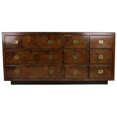 Italian Oyster Burl Dresser with Brass hardware