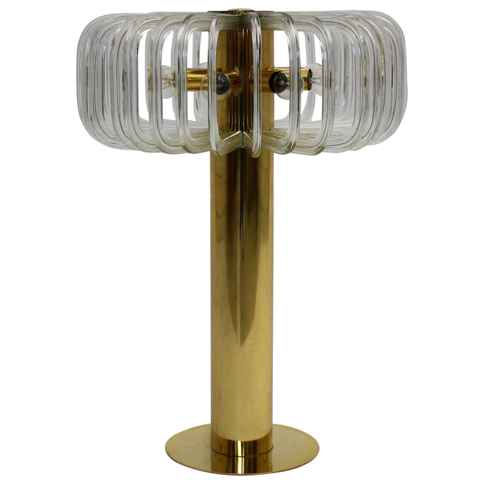 Mid Century Modern Glass Brass Vintage Table Lamp Bakalowits Cari Zalloni 1960s