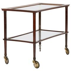 italian Bar Cart by Cesare Lacca Mahogany Glass 1950