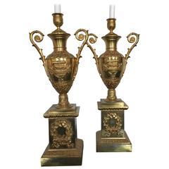 Beautiful Pair of 18th Century Gilt Bronze Candleholders