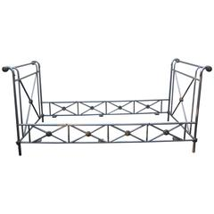 Maison Jansen Attributed Steel and Brass Campaign Style Daybed