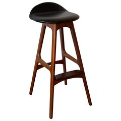 Erik Buch Teak and Rosewood Bar Stool, Denmark, circa 1970s