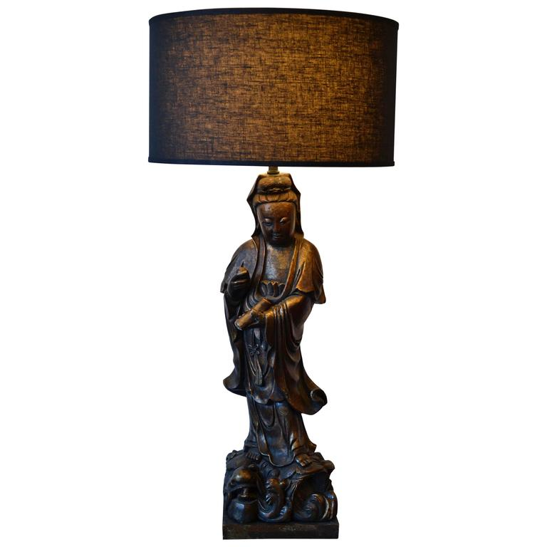 Monumental Asian Female Buddha or Empress Table Lamp, Early 20th Century