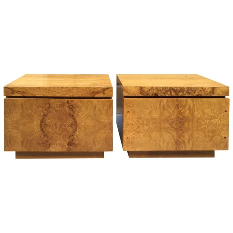 Roland Carter for Lane Furniture burl nightstands, 1970s, offered by Flavor