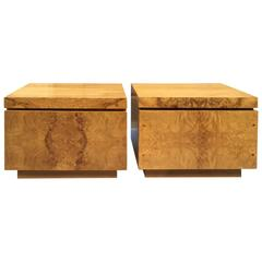 Pair of Burl Nightstands designed by Roland Carter for Lane Furniture