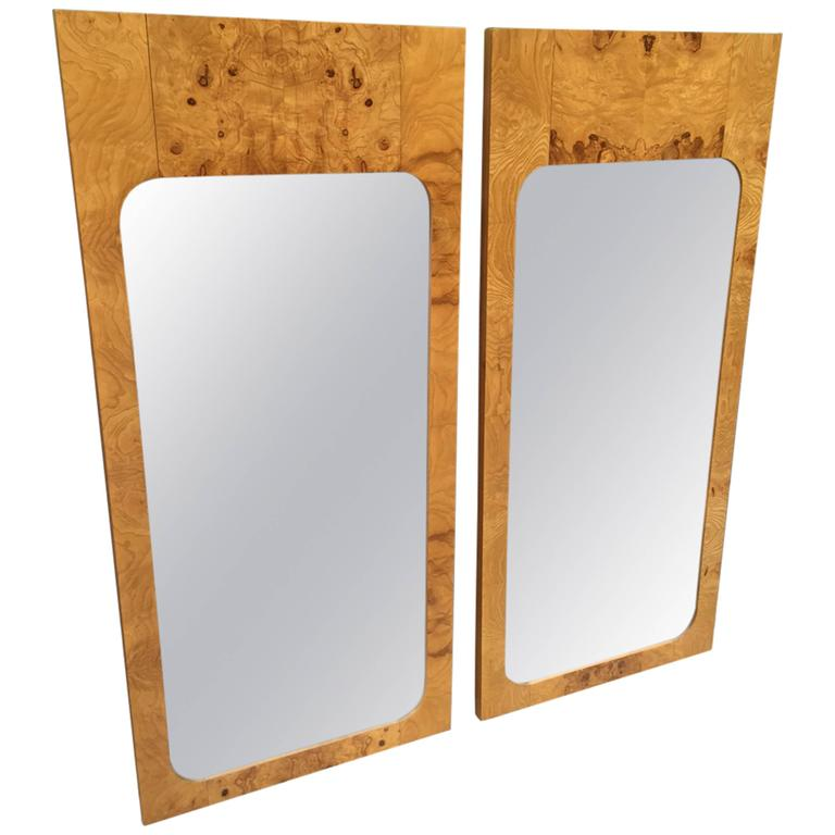 Pair Milo Baughman Style Burl Wood Mirrors  For Sale