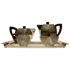 French Silver Art Deco Five-Piece Tea and Coffee Set with Wood Handles and Tray