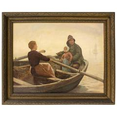 Painting of a Woman Blissfully Rowing a Seaman Holding a Small Child