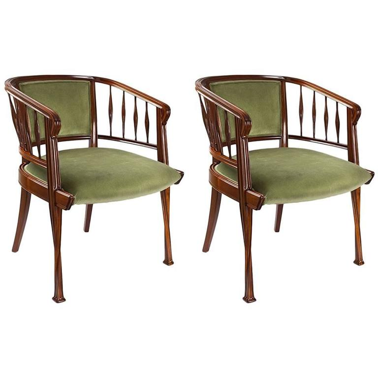 Pair of French Art Nouveau Armchairs by Louis Majorelle 1