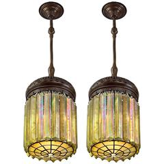 "Pair of Tiffany Studios ""Prism"" Chandeliers"
