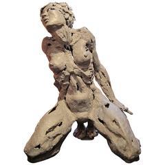 "20th Century Lead Sculpture ""Kneeling Woman"""
