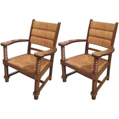 Unusual Pair of Caned Armchairs in Oak with Barley-Twist Motif