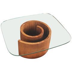 Vladimir Kagan Snail Coffee Table with Original Green Glass