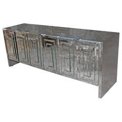 Ello Six-Door Mirrored Chrome Credenza