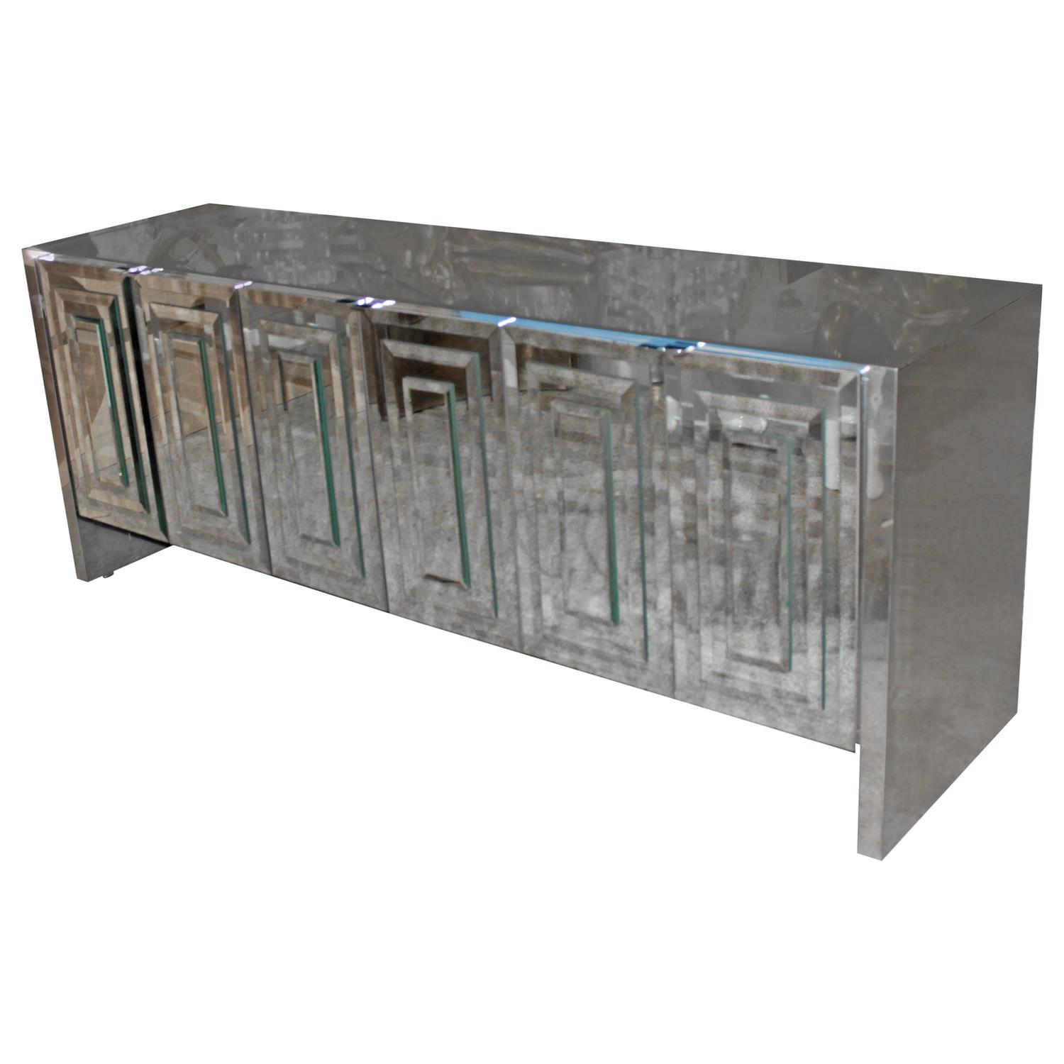 ello sixdoor mirrored chrome credenza for sale at stdibs -