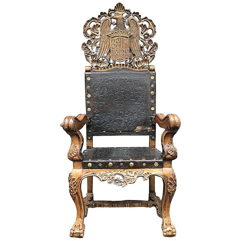 18th Century Peruvian Spanish Colonial Armchair Wood with Tooled Leather