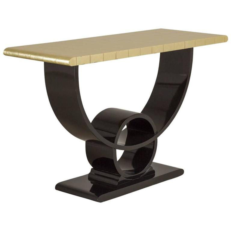 Jay Spectre Lacquer and Gold Leafed Console Table, 1980s