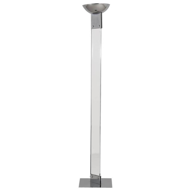 Single lucite and chrome floor standing uplighter 1980s for Uplighter single floor lamp