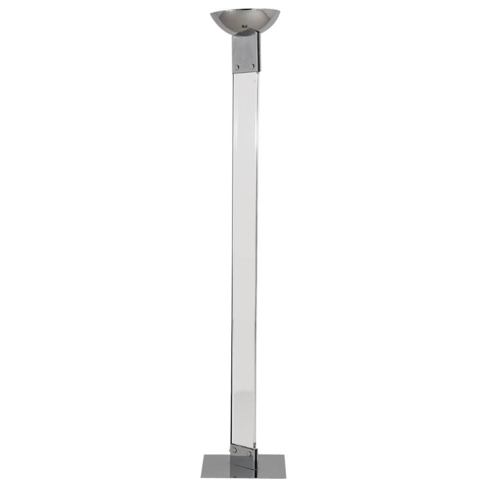 A single lucite and chrome floor standing uplighter 1980s for Uplighter single floor lamp