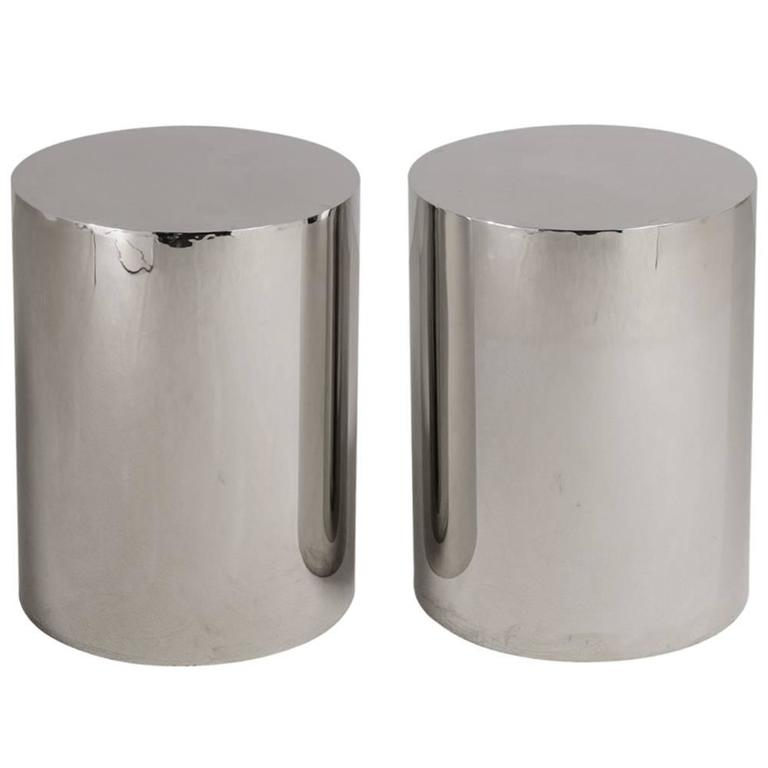 Pair of Polished Steel Pedestals, Table Bases, 1970s