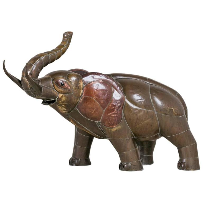 Copper Elephant Sculpture by Sergio Bustamante