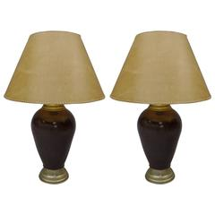 French Mid-Century Modern Enameled Metal Table Lamps