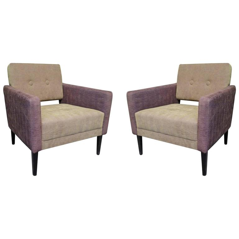 Pair of 1950s Green and Purple Velvet Midcentury Armchairs