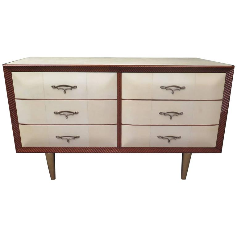 1940 Rectangular Parchment Leather Italian Art Deco Chest of Drawers