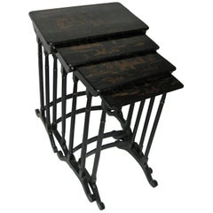 19th century Set of Four Black Lacquered Japanned Chinoiserie Nesting Tables