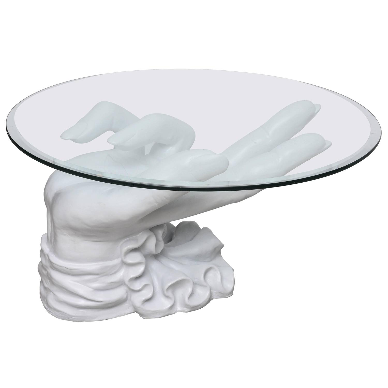 Charming Hand Coffee Table Part - 1: Sculptural White Plaster Hand Coffee Table For Sale At 1stdibs