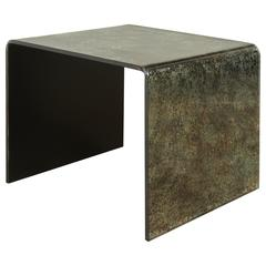 Reverse Painted Glass Waterfall Side Tables