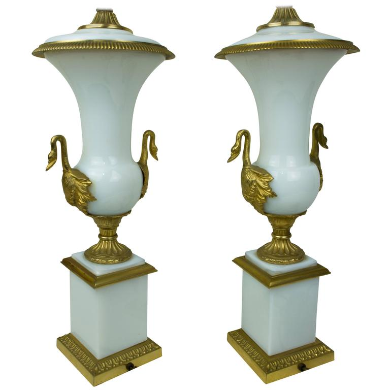 Pair of White Opaline and Bronze Neoclassical Lamps