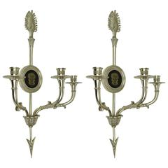 Neoclassical Pair of Silvered Bronze Three-Arm Wall Light Sconces
