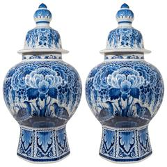 Pair of Large Dutch Delft Blue and White Covered Vases