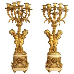 Pair of Late 19th Century Gilt Bronze and Marble Candelabra