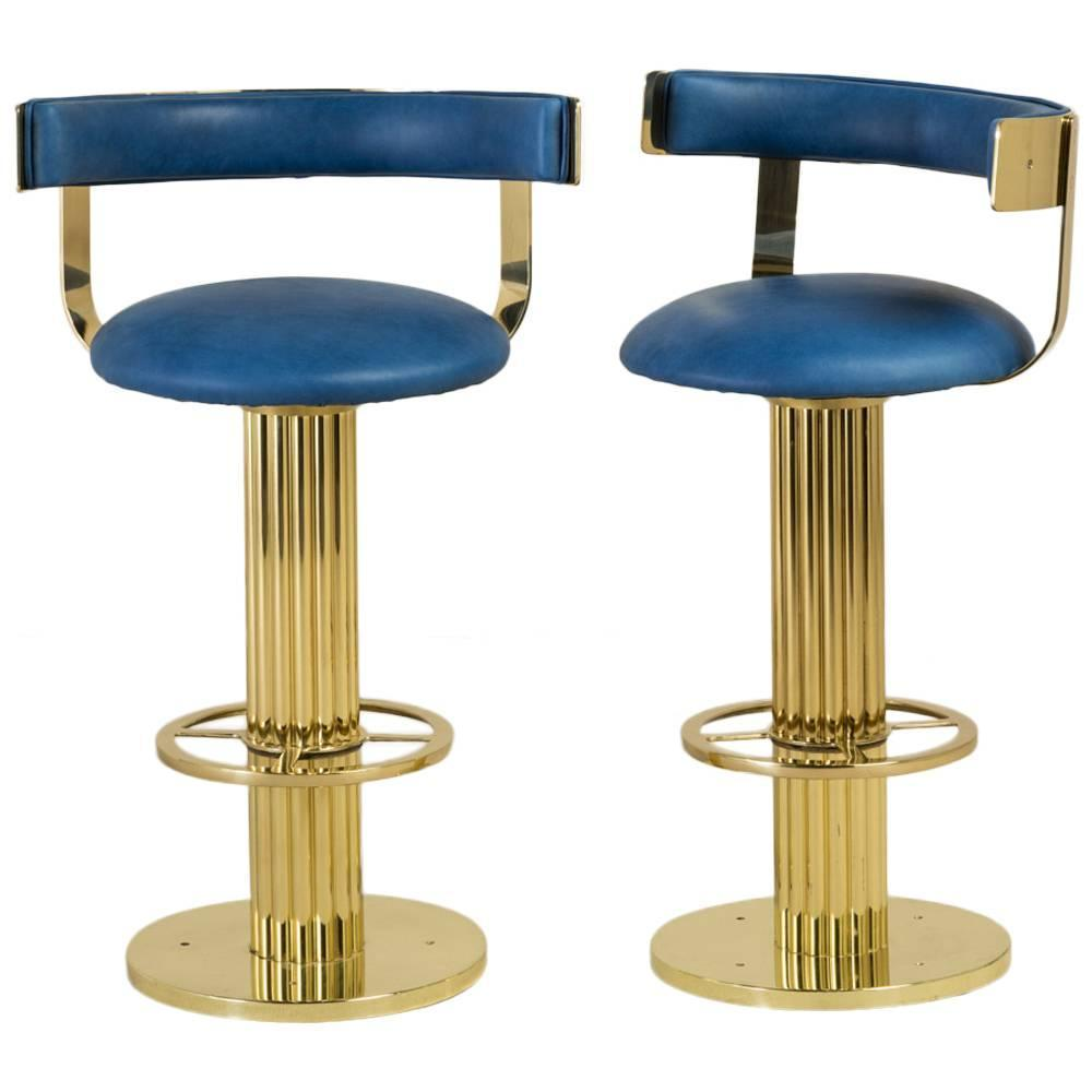 Superb Pair Of Polished Brass Swivel Bar Stools 1980s At
