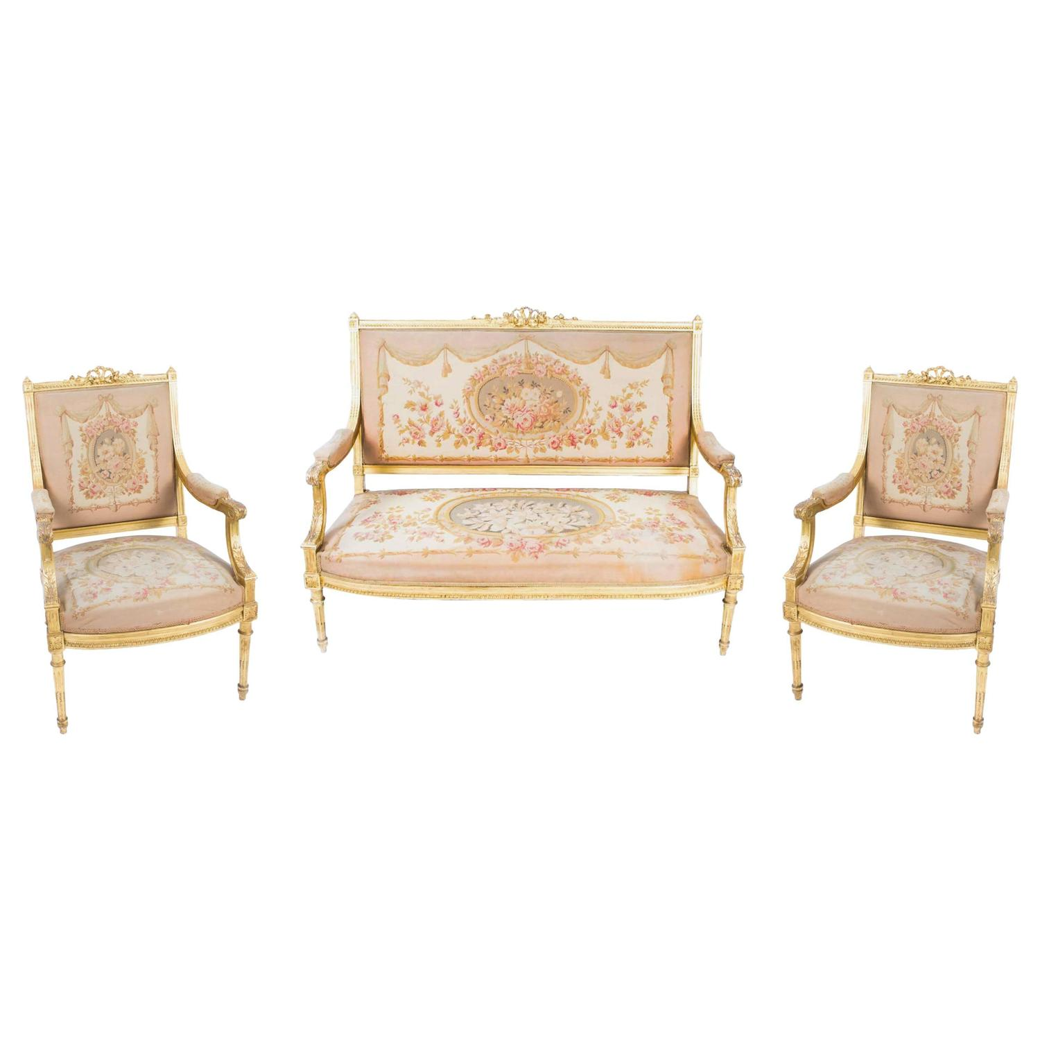 Antique 19th Century French Giltwood Three Piece Suite Maple And Co At 1stdibs