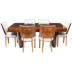 Antique Art Deco Walnut Rosewood Dining Table with Six Chairs