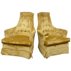 High Back Swivel Tufted Rocker/Lounge Chairs, 1960s USA