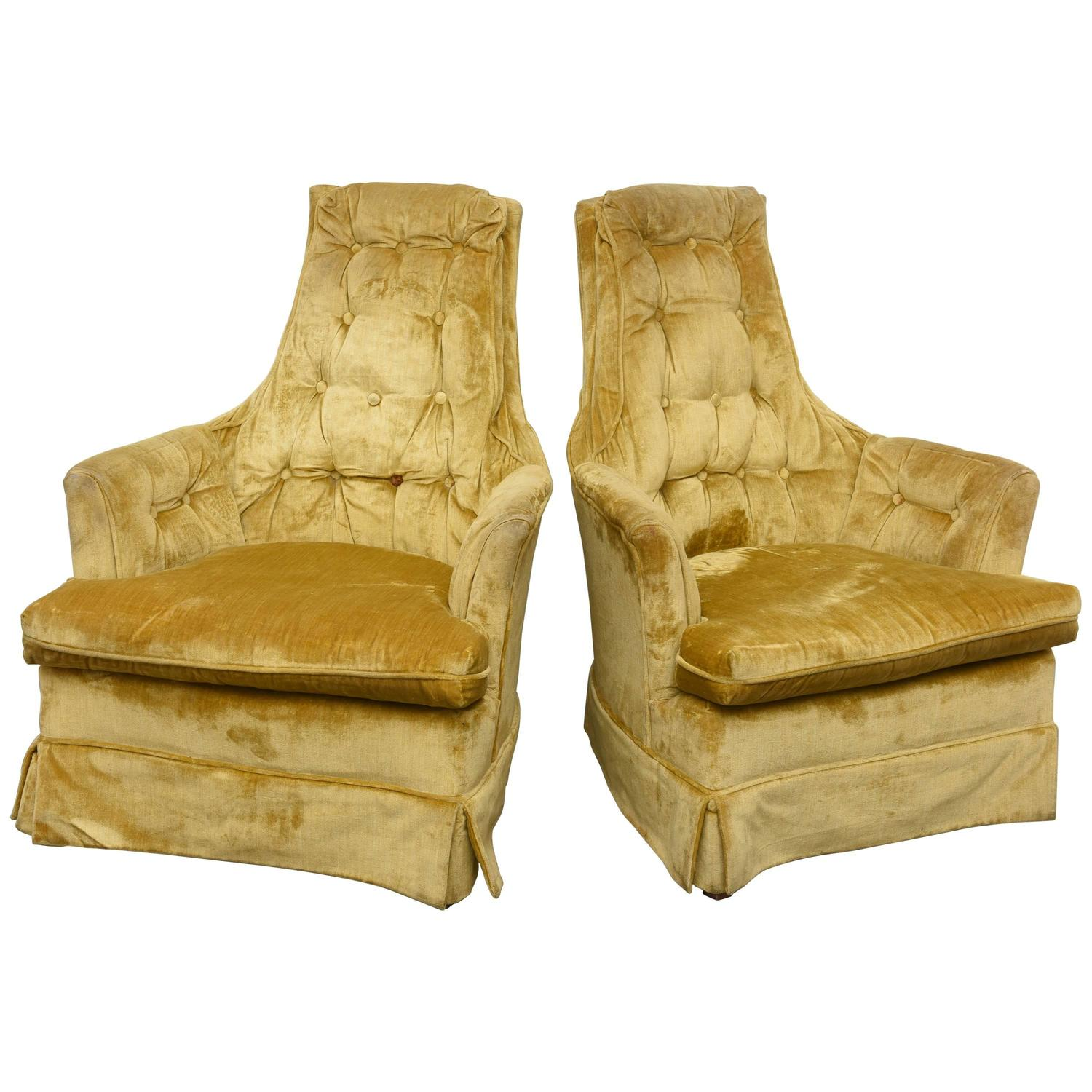 Marvelous High Back Swivel Tufted Rocker Lounge Chairs 1960S Usa Alphanode Cool Chair Designs And Ideas Alphanodeonline