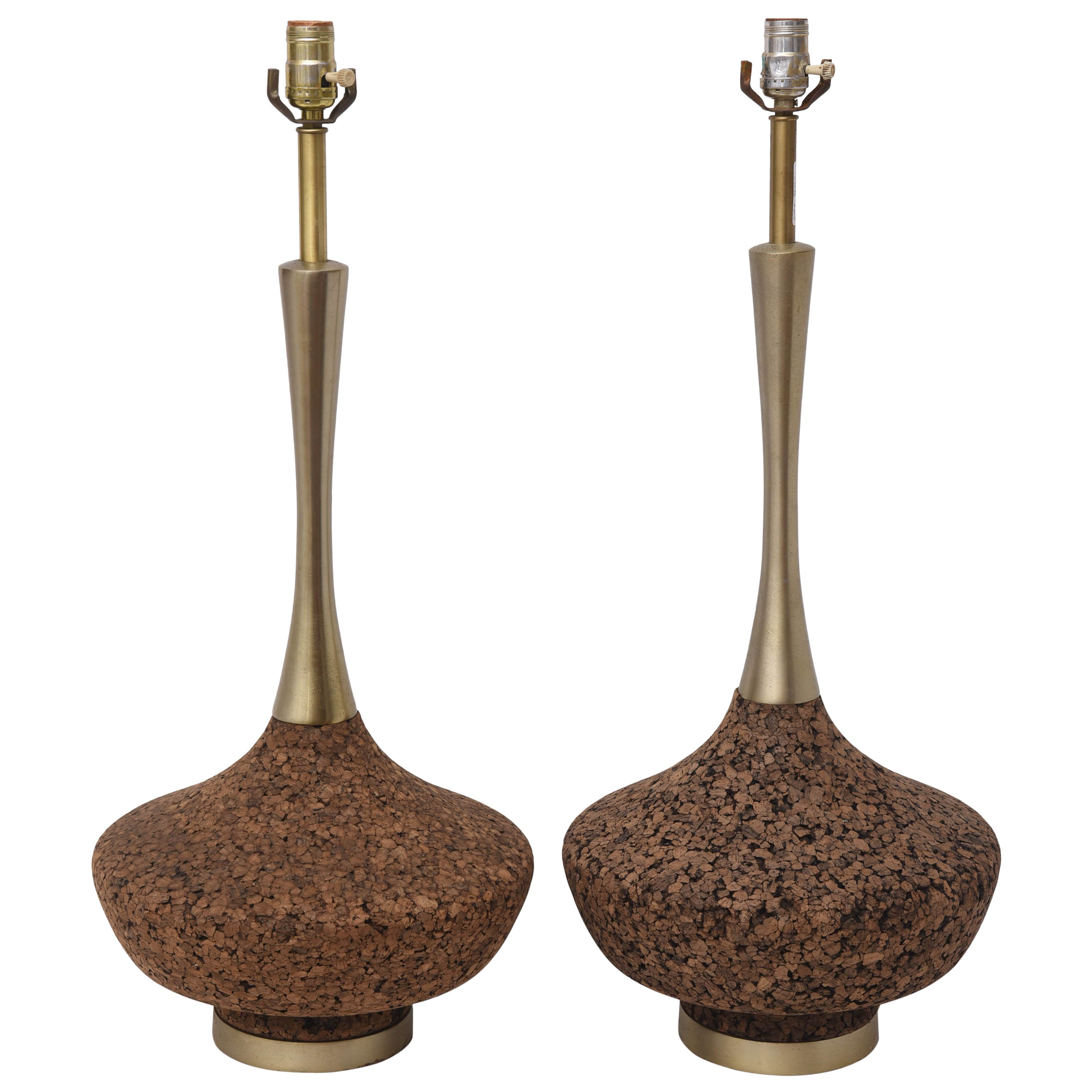 Monumental Brass and Cork Lamps--1970s USA