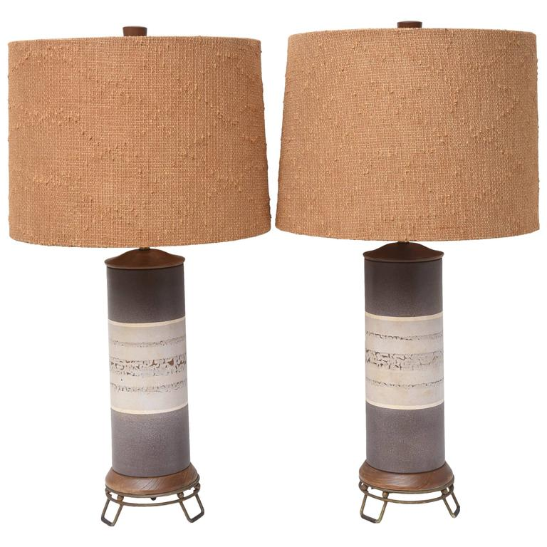 Ceramic Mid Century Modern Table Lamps--USA 1960s