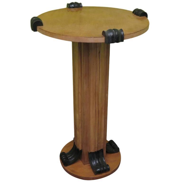 1940s Column Maple Wood Italian Art Deco Side Table