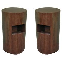 Pair of 1940 Round Italian Art Deco Side Tables