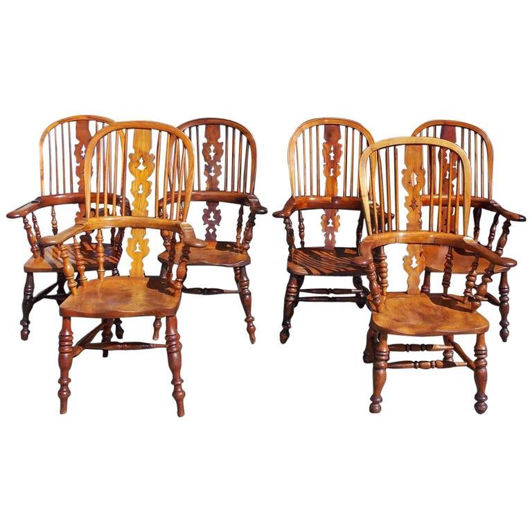 Set of Six English Yew and Ash Windsor Armchairs, Circa 1820