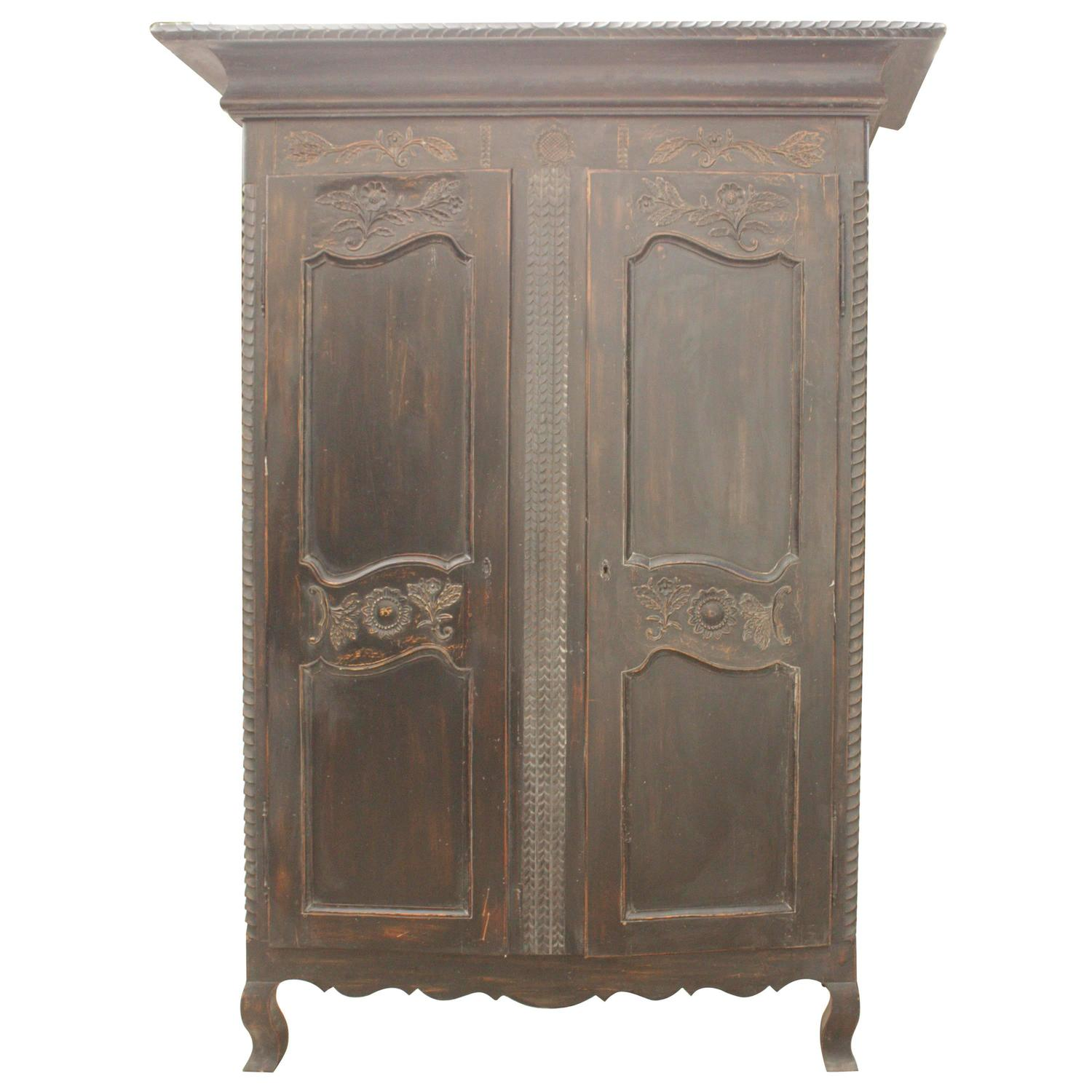 1950s French Ebonized Wood Distressed Armoire At 1stdibs. Full resolution  portrait, nominally Width 1500 Height 1500 pixels, portrait with #888844.